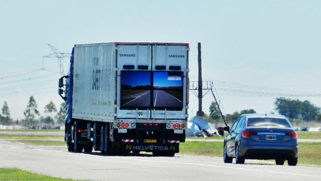 Samsung 'transparent' safety truck hits the road